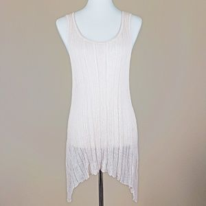 Eileen Fisher Blush Linen Knit Shark Bite Tank L